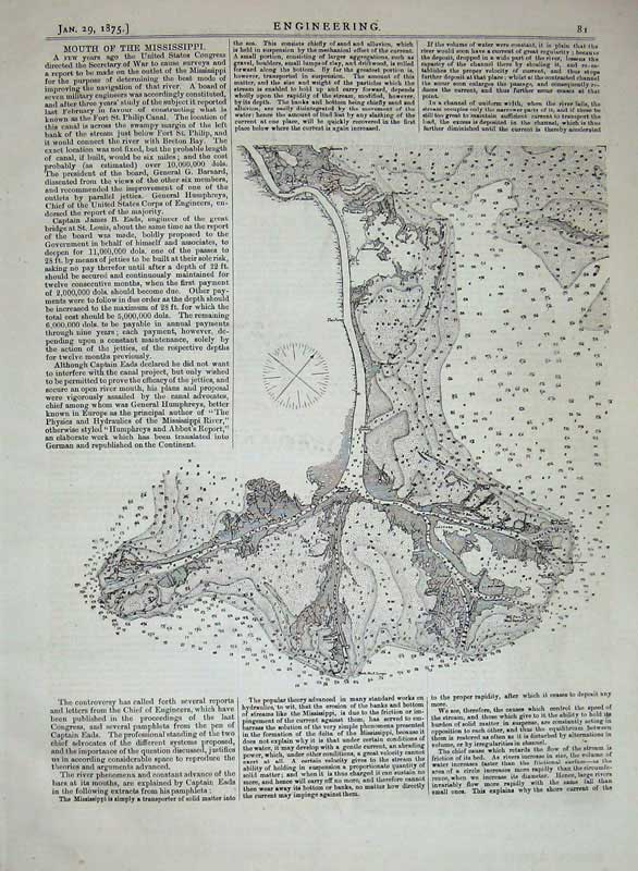 Print 1875 Engineering Drawing Mouth Mississippi River Plan 081D401 Old Original
