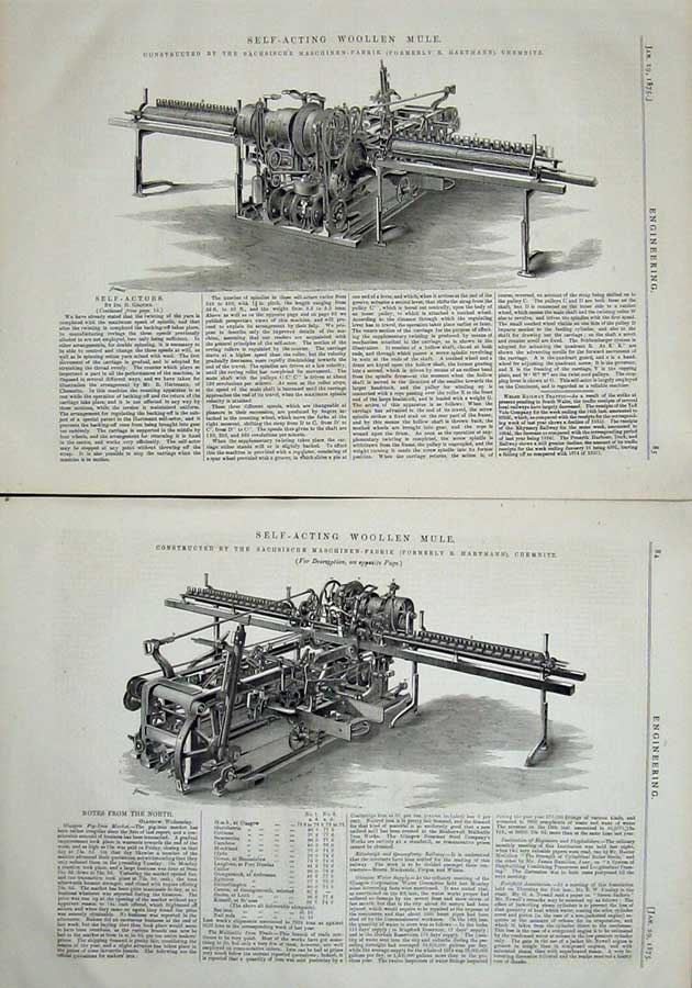 Print 1875 Self-Acting Woollen Mule Engineering Chemnitz 084Ad401 Old Original
