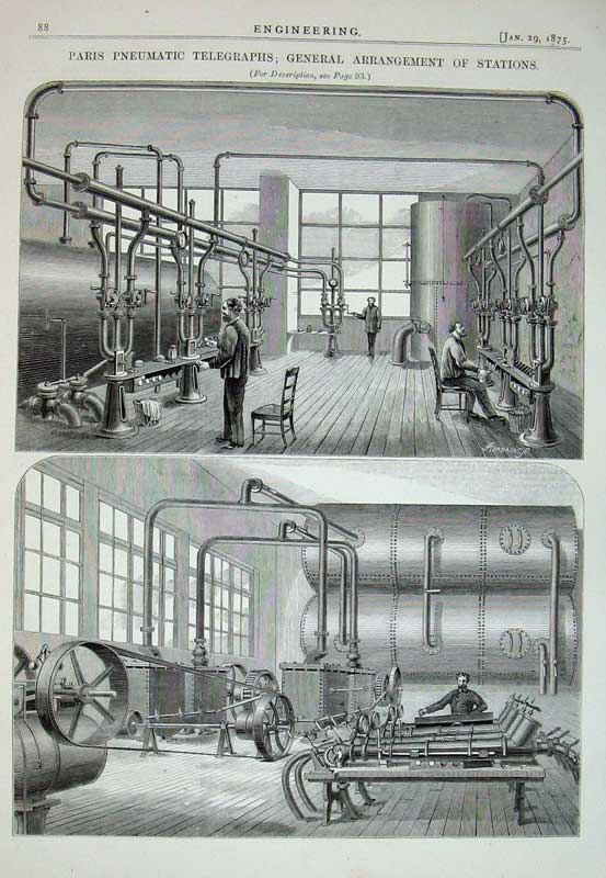 Print 1875 Paris Pneumatic Telegraphs Stations Engineering 088D401 Old Original
