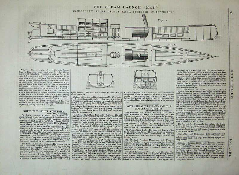 Print 1875 Steam Launch Mab Ship Diagram Engineering Baird 096D401 Old Original