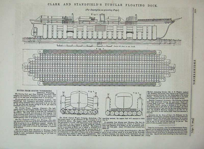 Print 1875 Clark Standfield'S Tubular Floating Dock Ship 102D401 Old Original