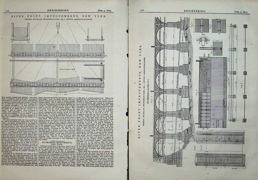 Print 1875 Engineering River Front Improvements New York 106Ad401 Old Original