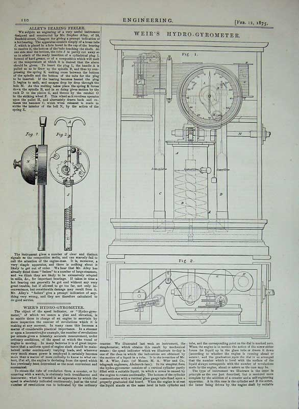 Print 1875 Engineering Weir'S Hydro-Gyrometer Alley'S Feeler 120D401 Old Original