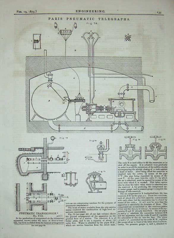 Print 1875 Paris Pneumatic Telegraphs Transmission Engineers 135D401 Old Original