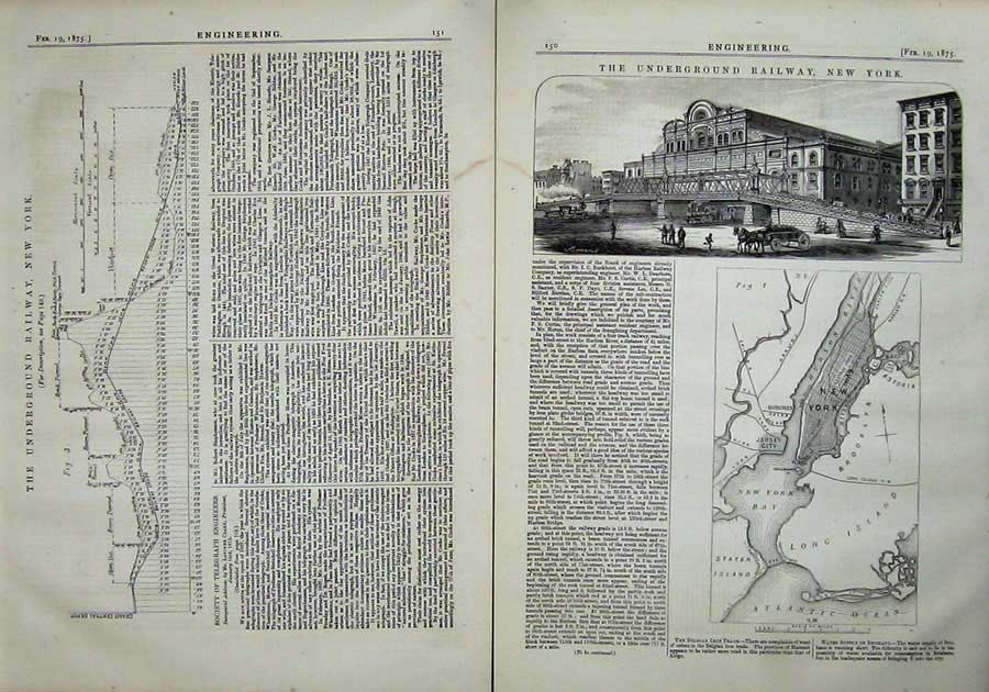 Print 1875 Engineering Underground Railway New York America 150Ad401 Old Original