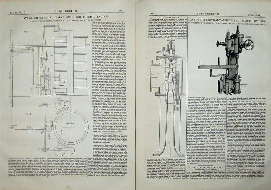 Print 1875 Engineering Davey'S Differential Valve Gear Engine 168Ad401 Old Original