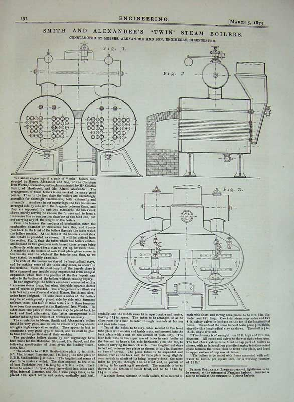 Print 1875 Smith Alexander Twin Steam Boilers Diagram Machine 192D401 Old Original