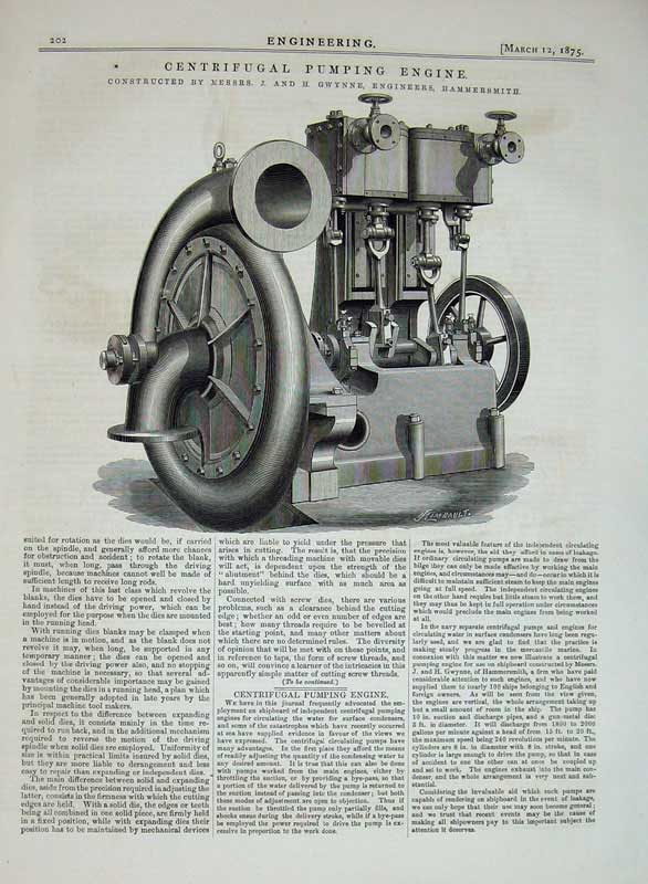 Print 1875 Centrifugal Pumping Engine Machinery Engineering 202D401 Old Original