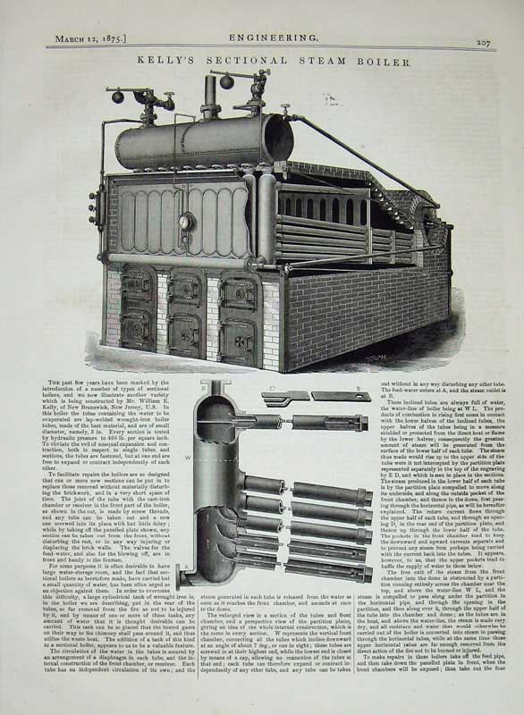 Print 1875 Kelly'S Sectional Steam Boiler Engineering Machine 207D401 Old Original