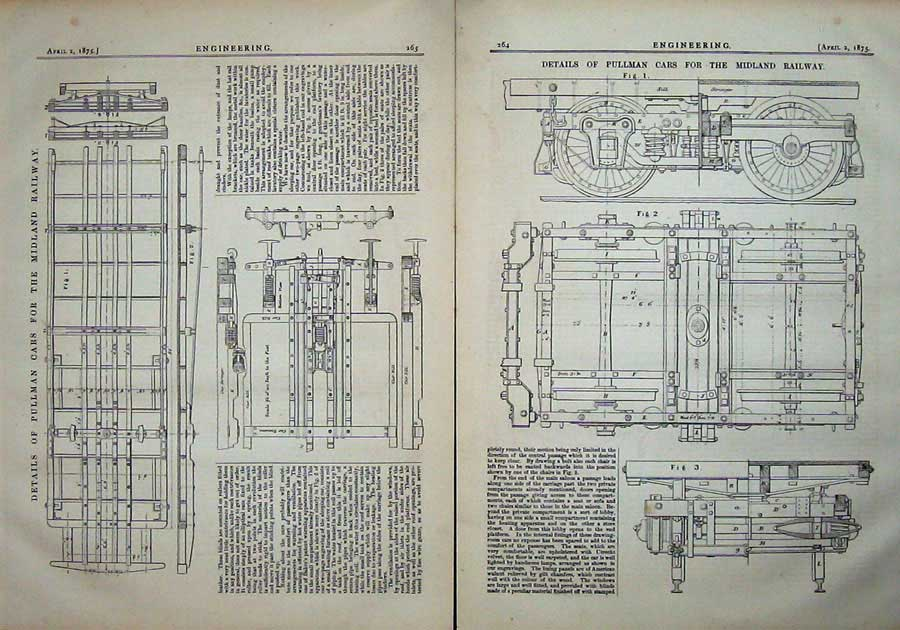 Print 1875 Diagrams Pullman Cars Midland Railway Engineering 264Ad401 Old Original