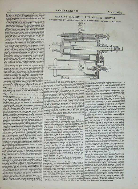 Print 1875 Rankin'S Governor Marine Engines Struthers Glasgow 272D401 Old Original