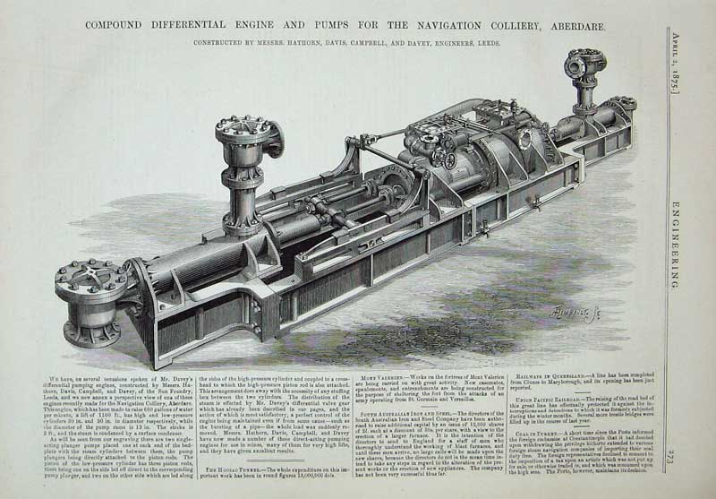 Print 1875 Engine Pumps Navigation Colliery Aberdare Machine 273D401 Old Original