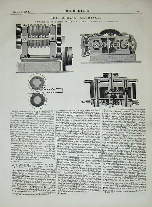 Print 1875 Engineering Nut-Forging Machinery Taylor Engineers 281D401 Old Original