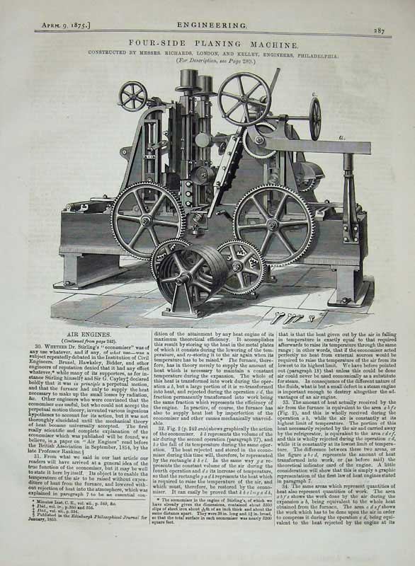 Print 1875 Four-Side Planing Machine Engineers Philadelphia 287D401 Old Original