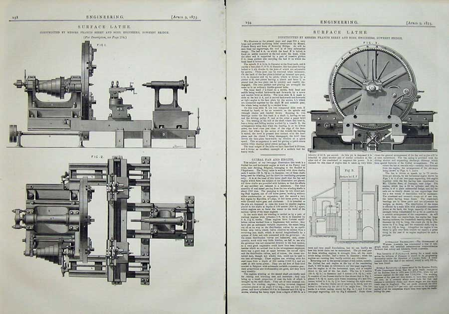 Print 1875 Engineering Machinery Surface Lathe Francis Berry 298Ad401 Old Original