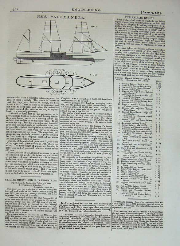 Print 1875 Engineering H.M.S Alexandra Diagrams Ships Drawing 302D401 Old Original