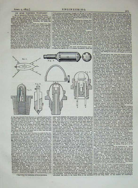 Print 1875 Engineering Diagrams Spar Torpedo Warfare Drawing 303D401 Old Original