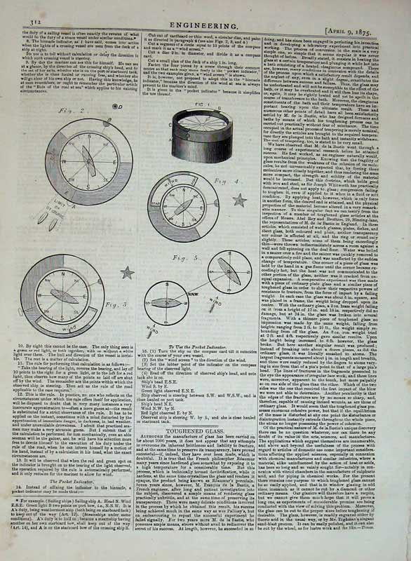 Print 1875 Engineering Pocket Indicator Compass Diagrams 312D401 Old Original