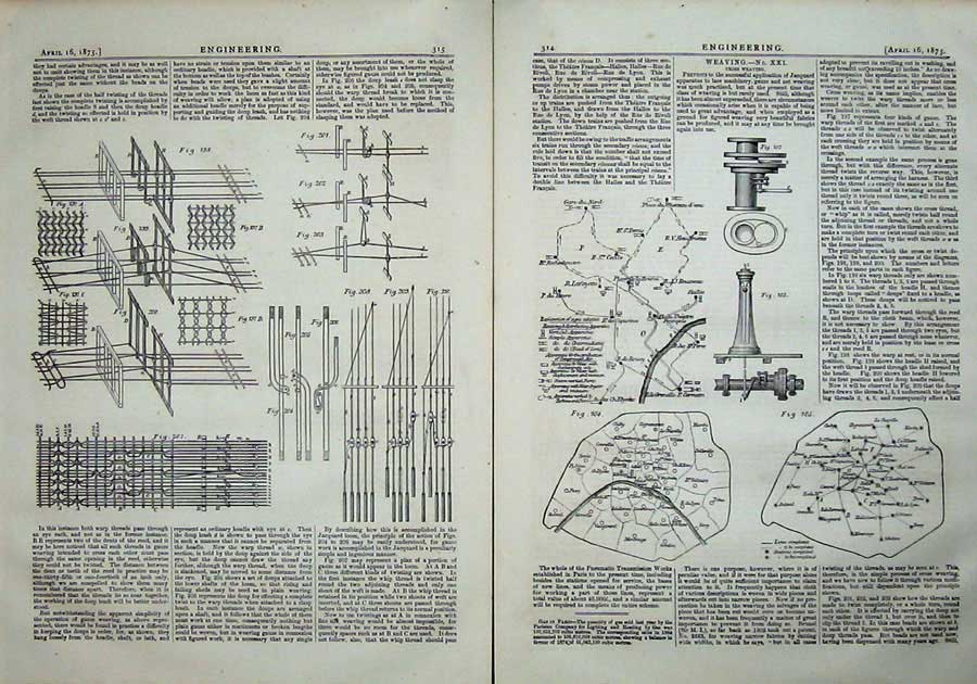 Print 1875 Engineering Cross Weaving Machinery Diagrams 314Ad401 Old Original