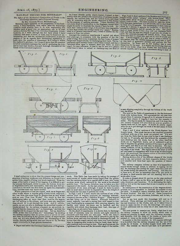 Print 1875 Engineering Railway Trucks Minerals Diagrams 327D401 Old Original