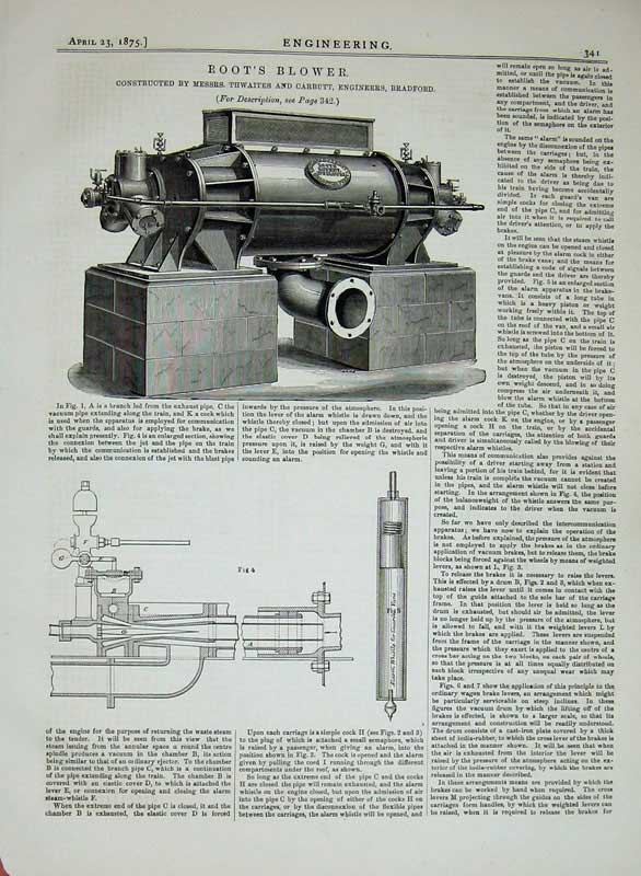Print 1875 Engineering Root'S Blower Engine Thwaites Carbutt 341D401 Old Original