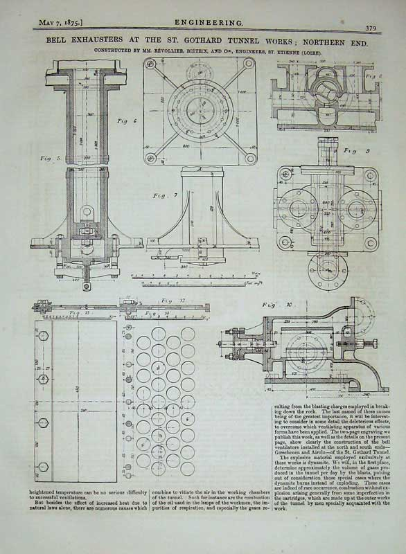 Print 1875 Bell Exhausters Gothard Tunnel Works Diagrams 379D401 Old Original