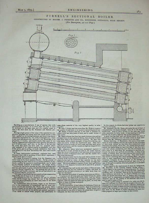 Print 1875 Furnell'S Sectional Boiler Engineering Diagram 383D401 Old Original