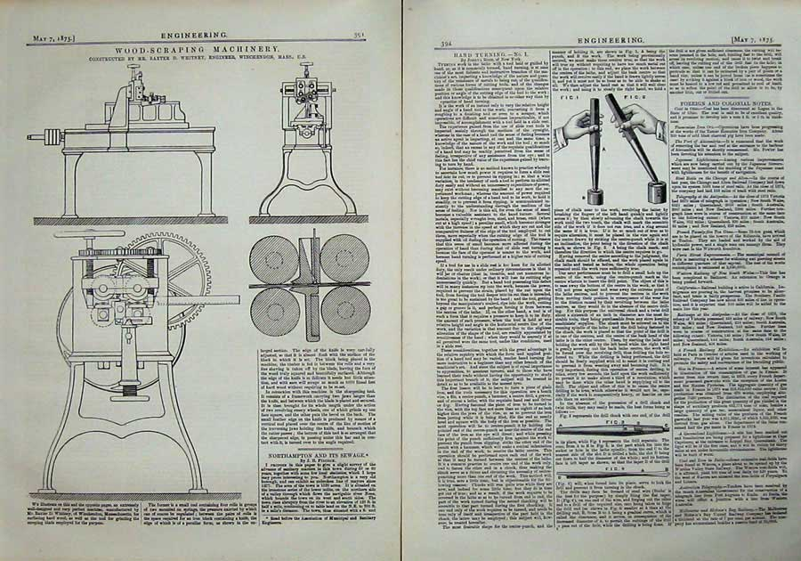 Print 1875 Engineering Wood-Scraping Machinery Whitney Mass 394Ad401 Old Original