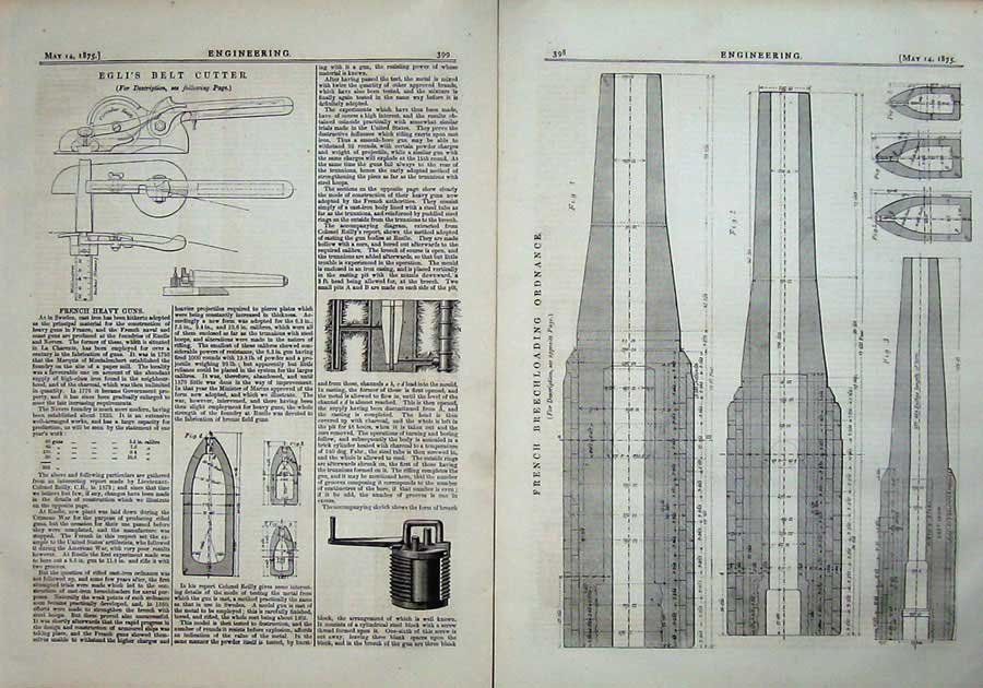 Print 1875 French Breechloading Ordnance Egli Belt Cutter 398Ad401 Old Original