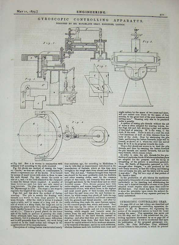 Print 1875 Engineering Gyroscopic Controlling Apparatus 421D401 Old Original