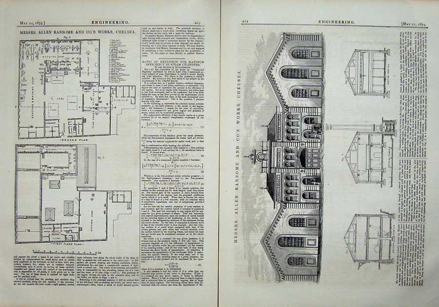 Print 1875 Engineering Allen Ransome Works Chelsea Diagrams 424Ad401 Old Original