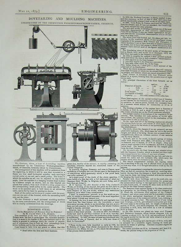 Print 1875 Dovetailing Moulding Machinery Chemnitzer Steel 433D401 Old Original