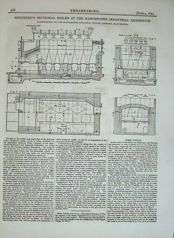 Print 1875 Shepherd'S Sectional Boiler Machinery Manchester 468D401 Old Original