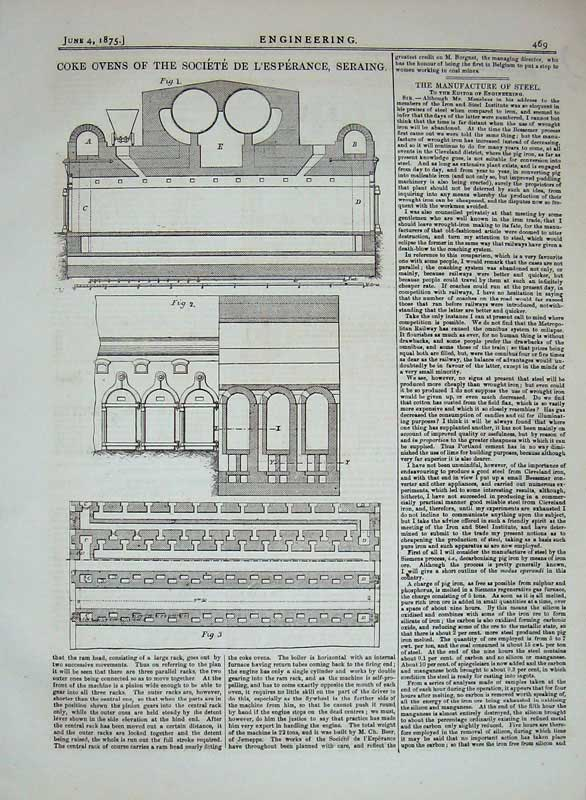 Print 1875 Coke Ovens Societe L'Esperance Seraing Engineering 469D401 Old Original