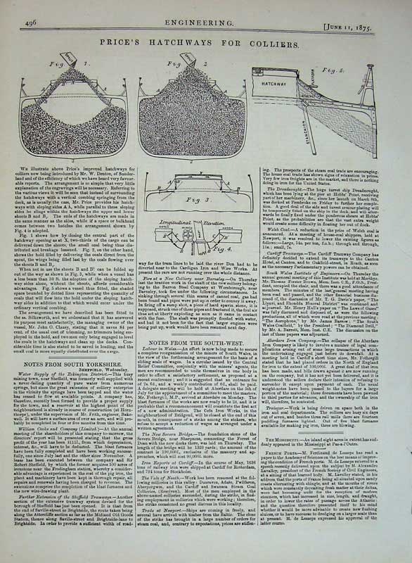 Print 1875 Engineering Price'S Hatchways Colliers Drawings 496D401 Old Original