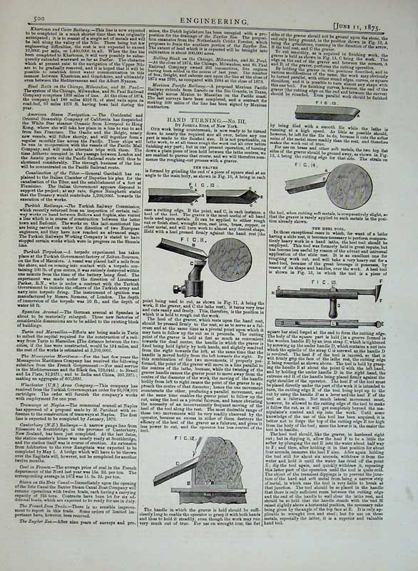 Print 1875 Engineering Drawings Hand Turning Machinery Rose 500D401 Old Original