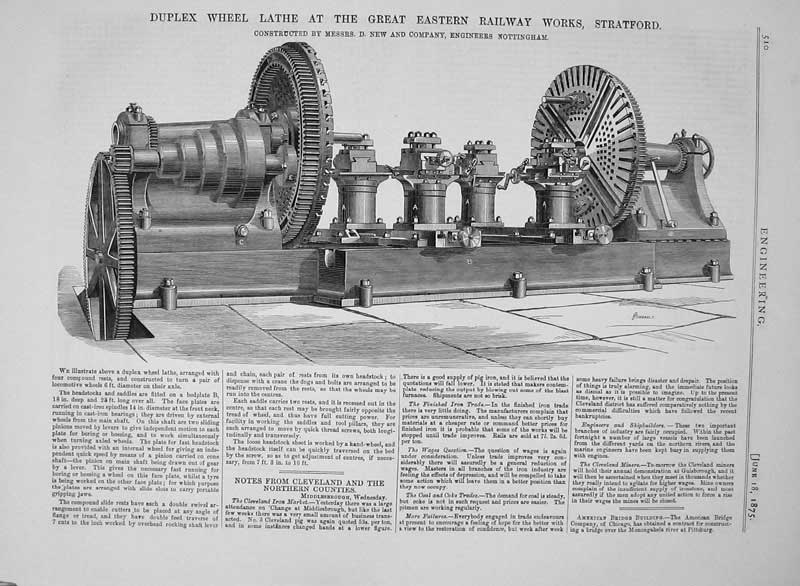 Print 1875 Duplex Wheel Lathe Eastern Railway Works Stratford 510D401 Old Original