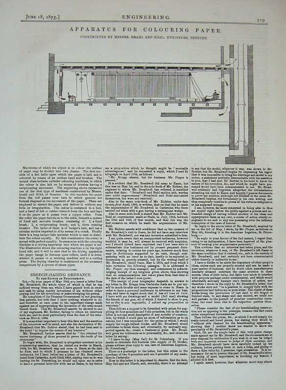 Print 1875 Engineering Apparatus Colouring Paper Machinery 519D401 Old Original