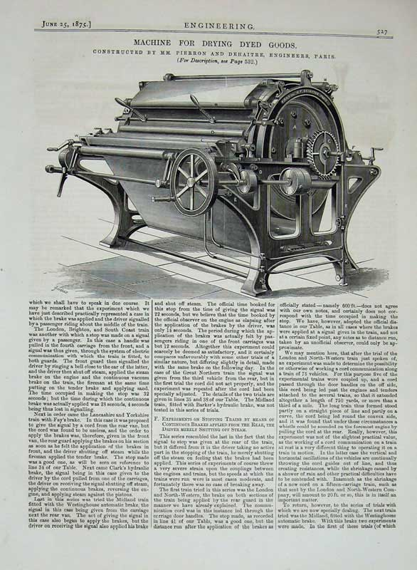 Print 1875 Engineering Machine Drying Dyed Goods Pierron 527D401 Old Original