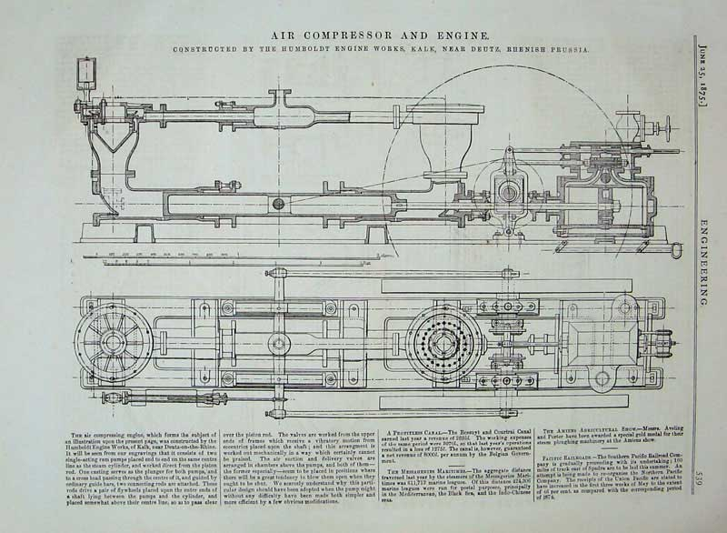 Print 1875 Air Compressor Engine Diagram Humboldt Prussia 539D401 Old Original