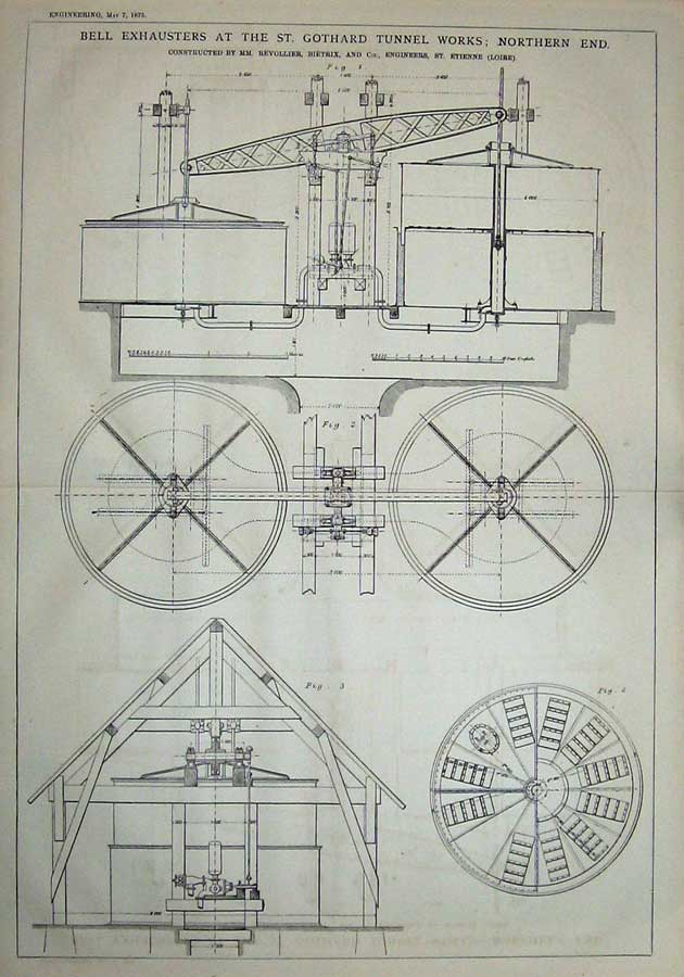 Print 1875 Diagrams Bell Exhausters Gothard Tunnel Works 909D401 Old Original