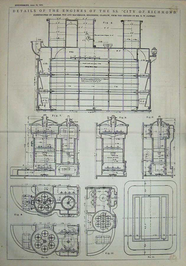 Print 1875 Diagrams Details Engines City Richmond Engineering 910D401 Old Original