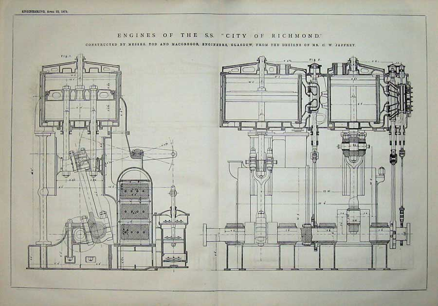 Print 1875 Diagrams Engines Richmond Engineering Glasgow 911D401 Old Original