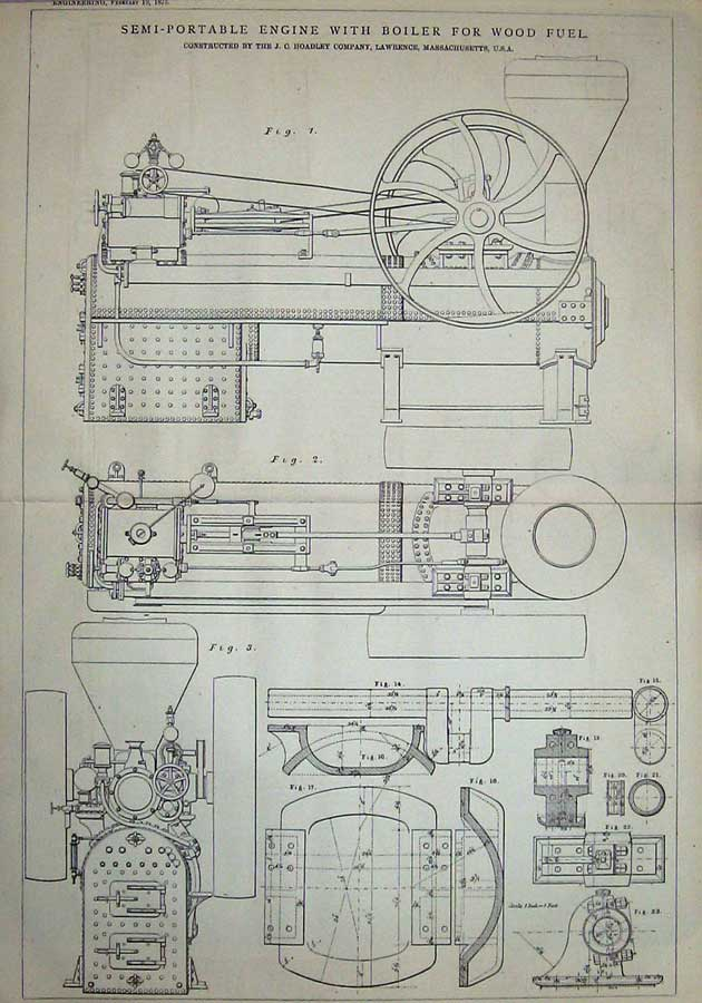 Print 1875 Diagrams Semi-Portable Engine Boiler Wood Fuel 923D401 Old Original