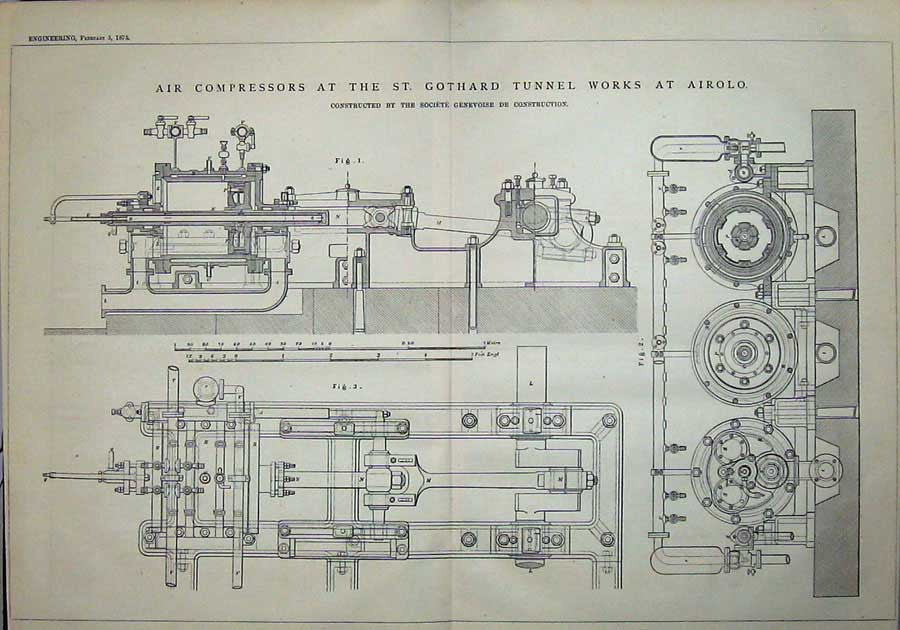 Print 1875 Air Compressors St Gothard Tunnel Works Airolo 926D401 Old Original