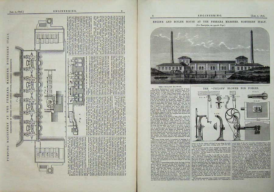Print 1876 Engine Boiler Ferrara Italy Pumping Engineering 008Ad402 Old Original