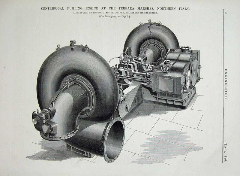 Print 1876Engineering Centrifugal Pumping Engine Ferrar Italy 012D402 Old Original