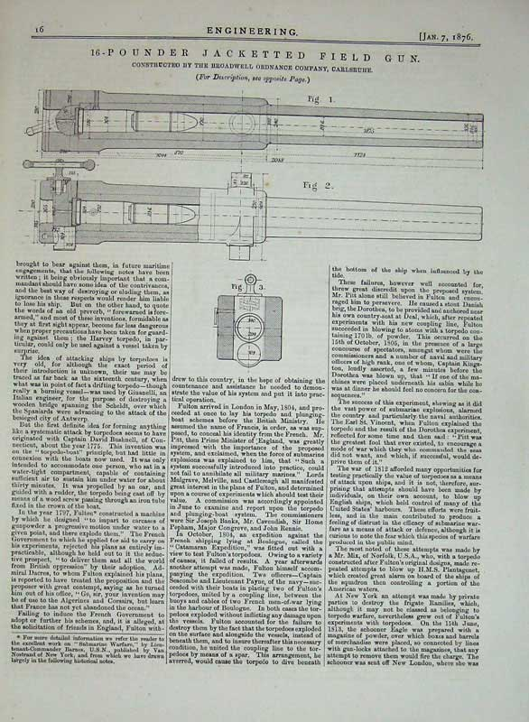 Print 1876 Engineering 16-Pounder Jacketted Field Gun Diagram 016D402 Old Original