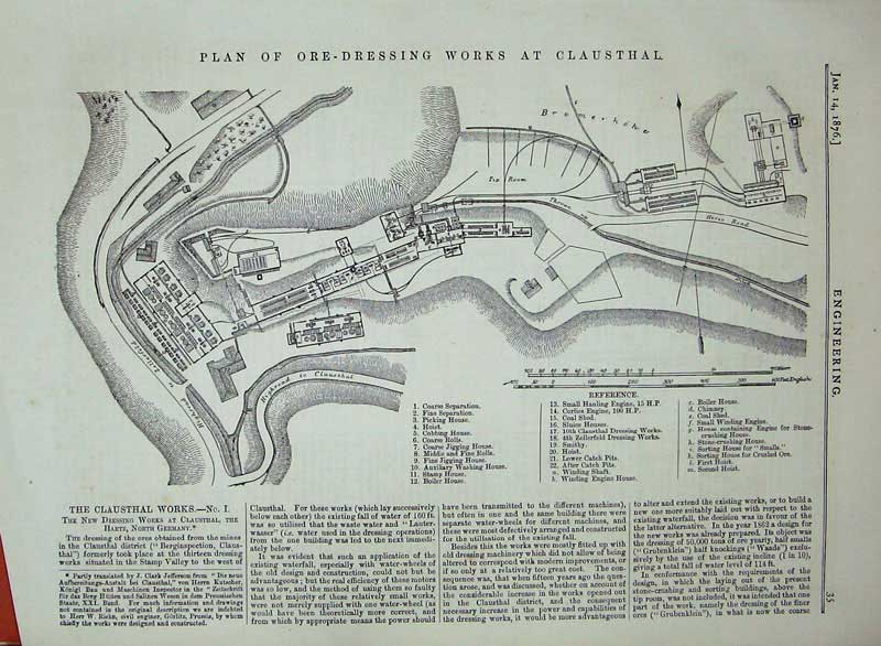 Print 1876 Plan Ore-Dressing Works Clausthal Hartz Germany 035D402 Old Original