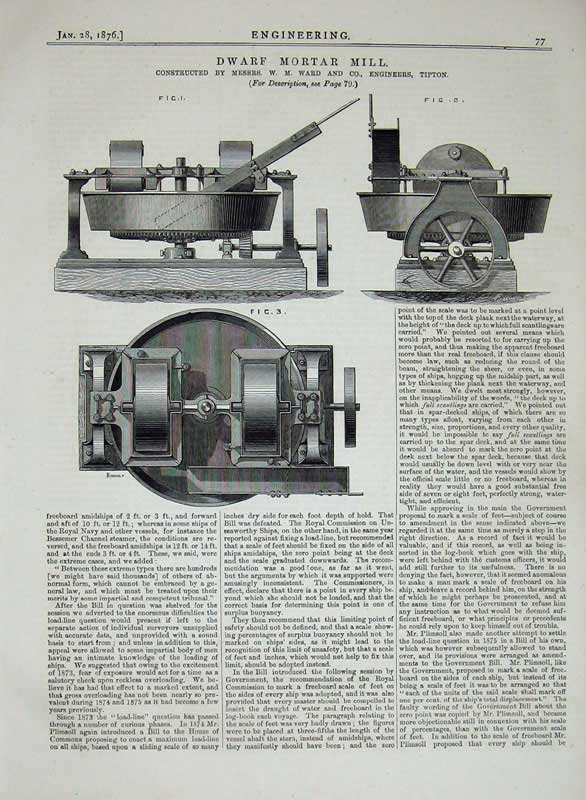 Print 1876 Engineering Dwarf Mortar Mill Machinery Tipton 077D402 Old Original